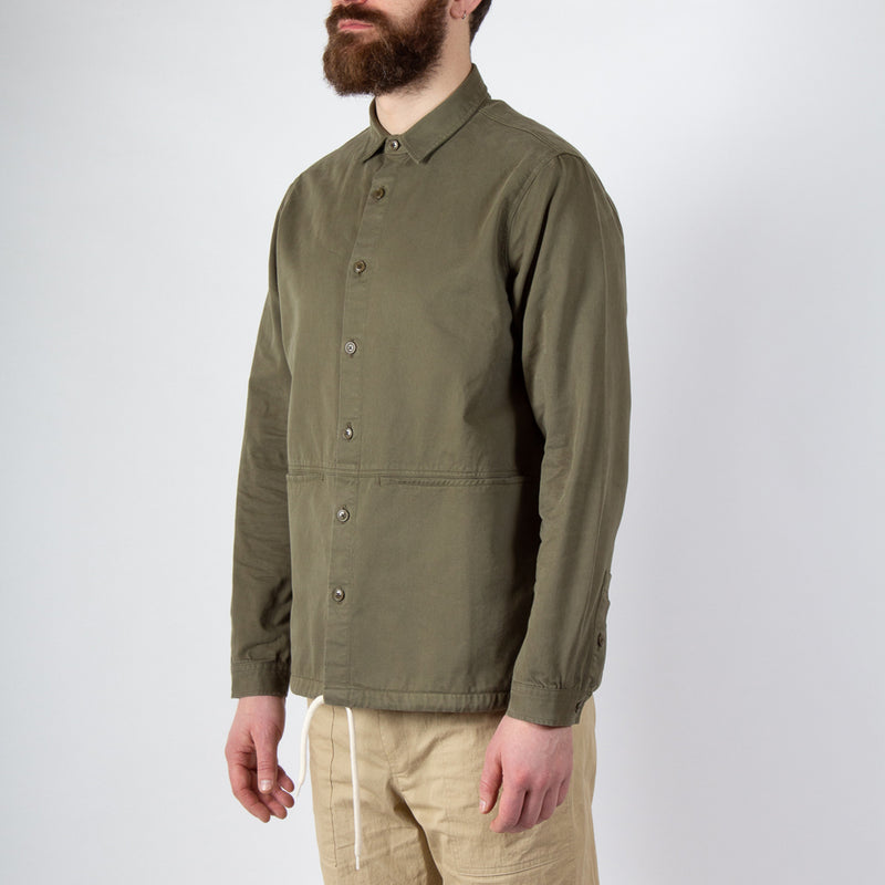 Kestin Hare Armadale Shirt Jacket Olive Brushed Cotton worn side view