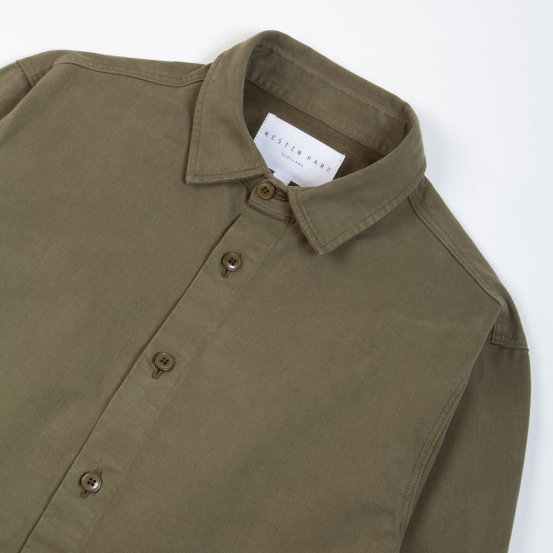 Kestin Hare Armadale Shirt Jacket Olive Brushed Cotton collar detail