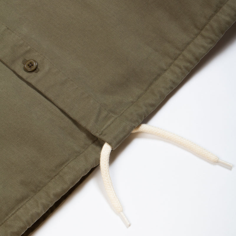 Kestin Hare Armadale Shirt Jacket Olive Brushed Cotton drawcord hem detail