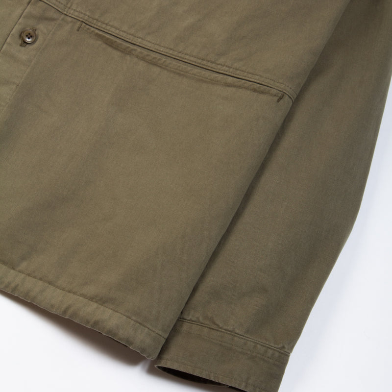 Kestin Hare Armadale Shirt Jacket Olive Brushed Cotton pocket detail