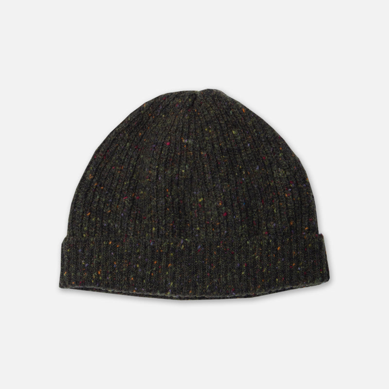 Donegal Ribbed Beanie In Dark Forest Merino Wool
