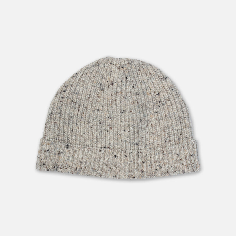 Donegal Ribbed Beanie In Porridge Merino Wool