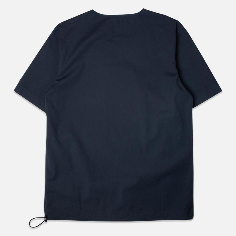 Caddy Tee Navy Stretch Woven Cotton Shockcord back view