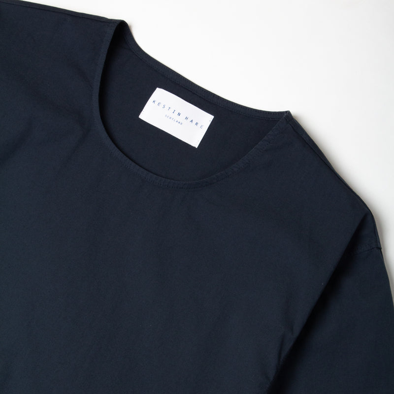 Kestin Hare Caddy Tee Navy Stretch Woven Cotton collar detail