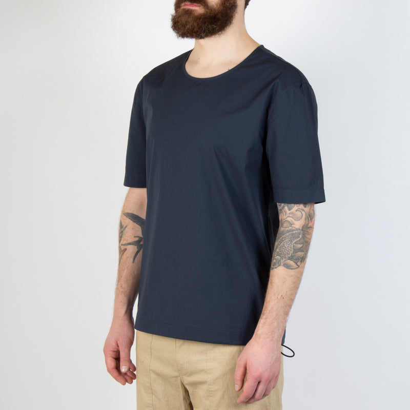 Kestin Hare Caddy Tee Navy Stretch Woven Cotton worn side view