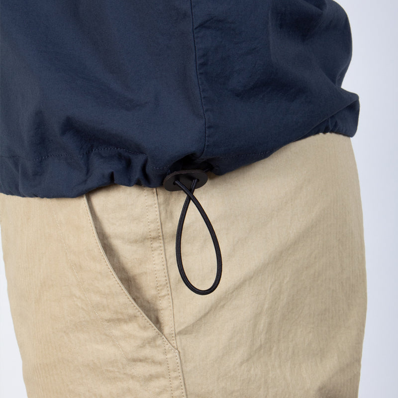 Caddy Tee Navy Stretch Woven Cotton Shockcord Adjustable Hem Detail