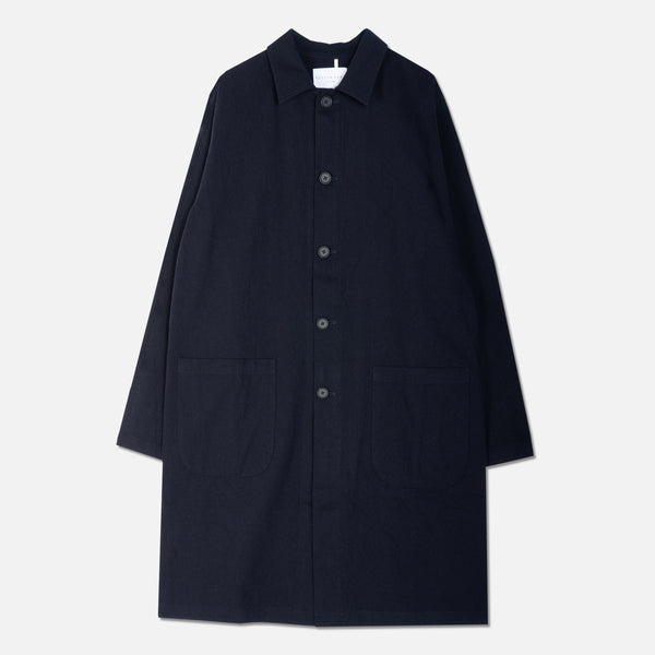 Campbell Town Coat In Navy Cotton/Wool Twill