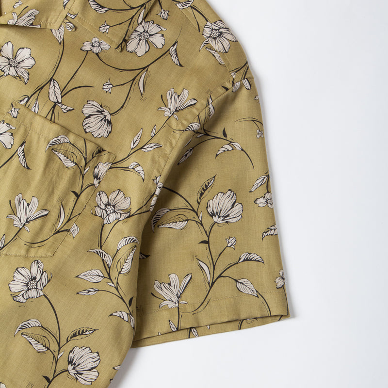 Kestin Hare Crammond Shirt In Olive Floral Print Tencel sleeve detail