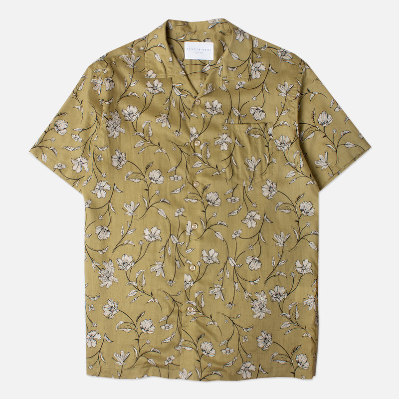 Kestin Hare Crammond Shirt In Olive Floral Print Tencel