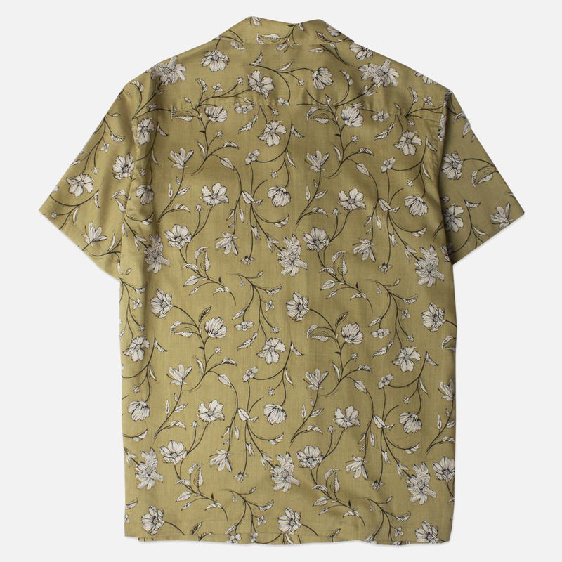 Kestin Hare Crammond Shirt In Olive Floral Print Tencel back view