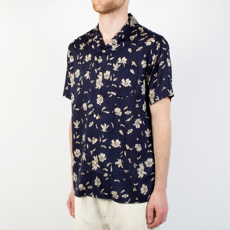 Kestin Hare Crammond Shirt Navy Floral Print Tencel worn side view