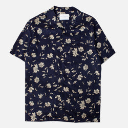 Kestin Hare Crammond Shirt In Navy Floral Print Tencel