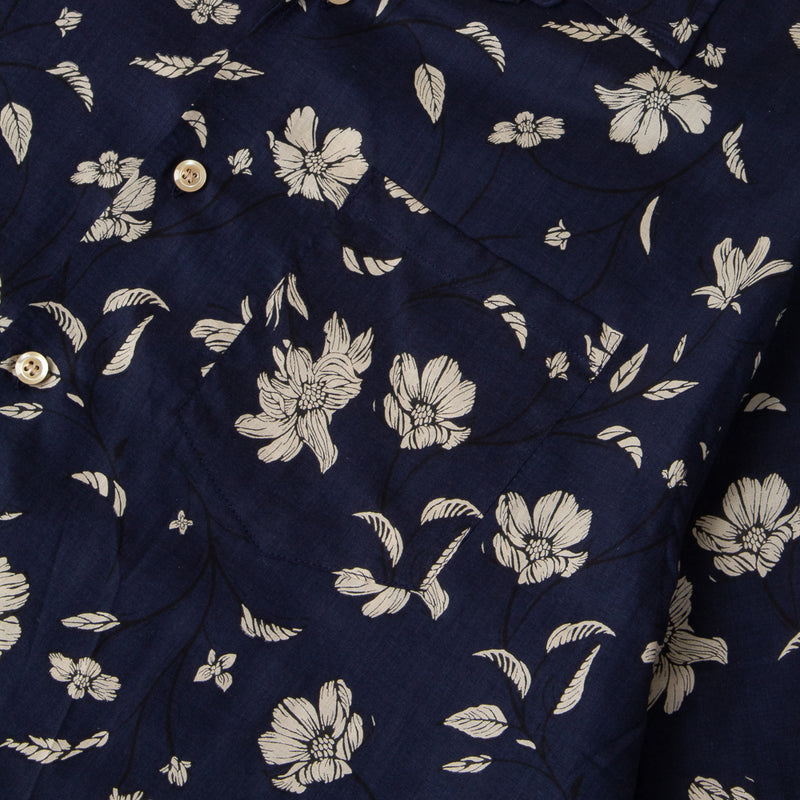 Crammond Shirt In Navy Floral Print Tencel