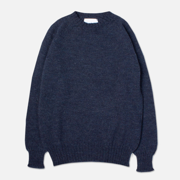 British Wool Crew Neck In Denim Navy