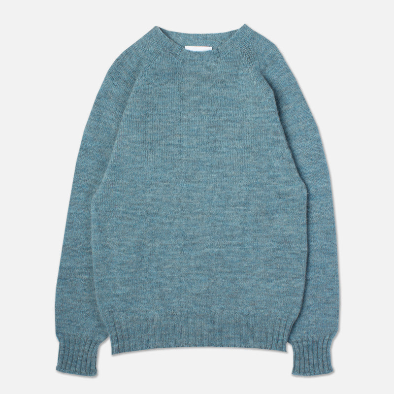 British Wool Crew Neck In Lovat Blue