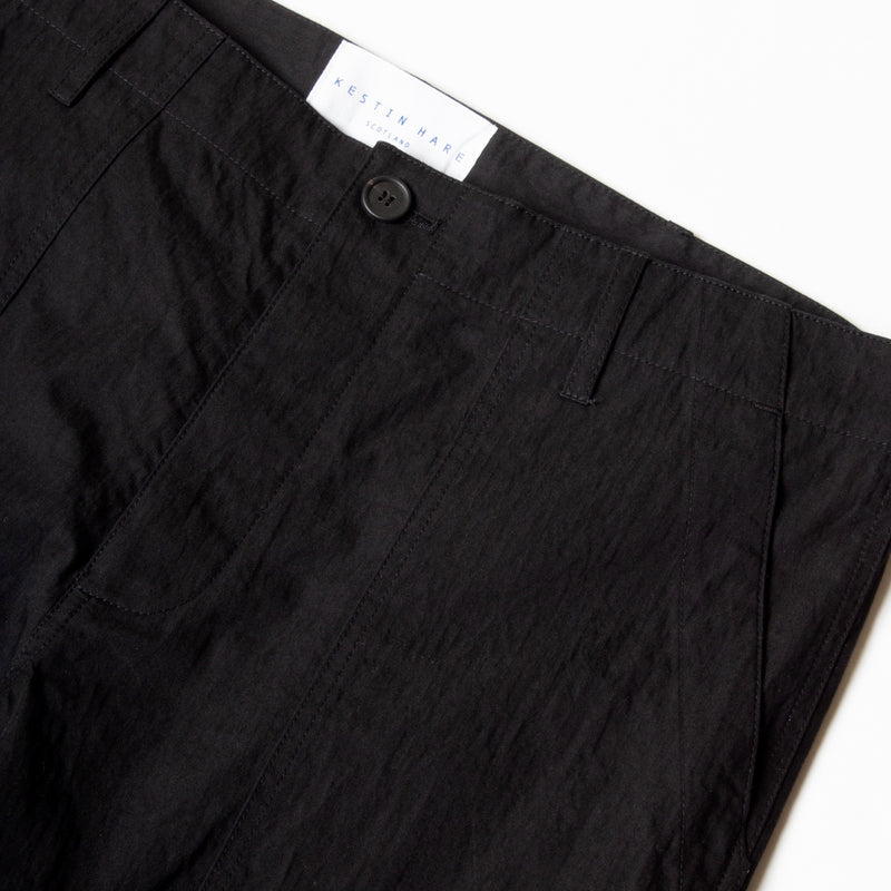 Kestin Hare Fatigue Pant in Black Cotton/Nylon waist detail