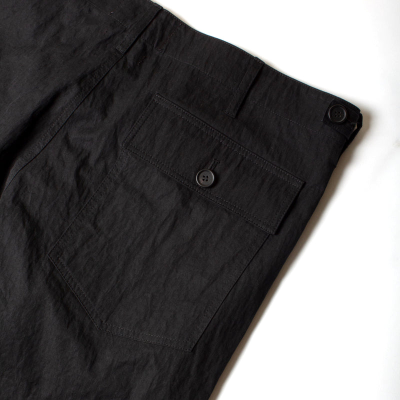 Kestin Hare Fatigue Pant in Black Cotton/Nylon back pocket detail