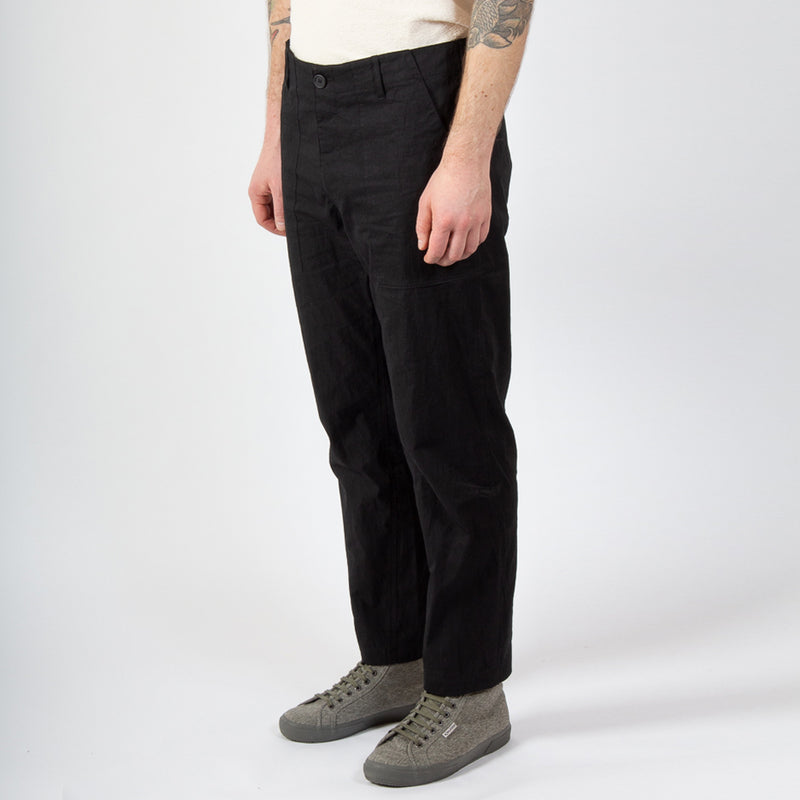 Kestin Hare Fatigue Pant in Black Cotton/Nylon worn side view