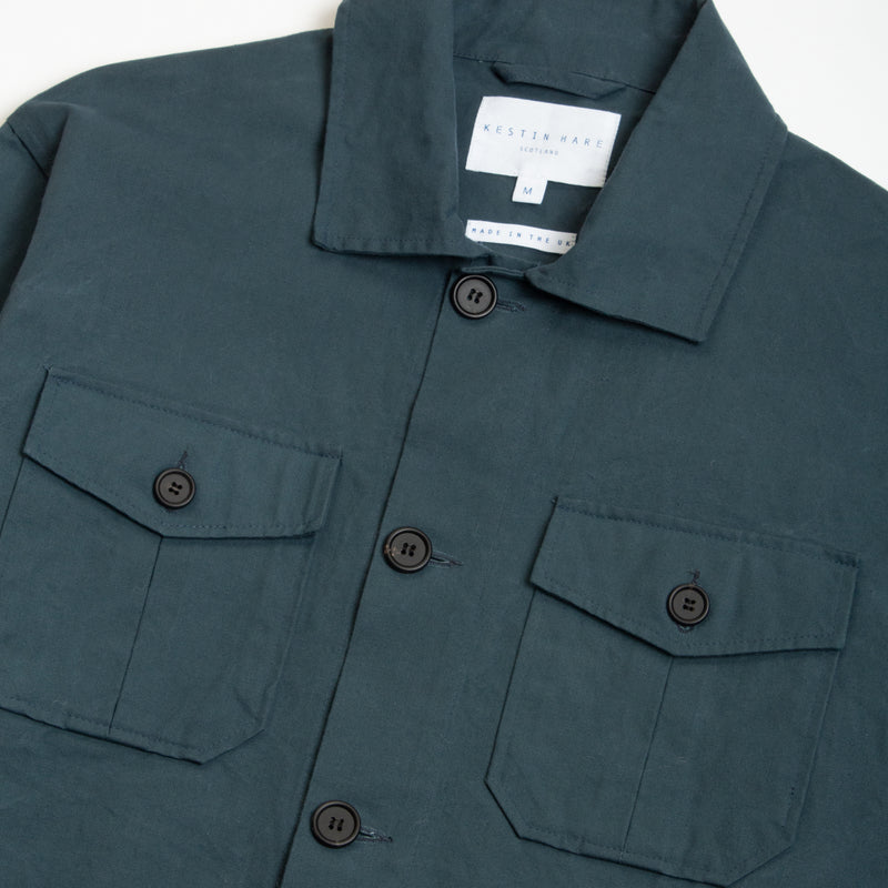 Field Jacket In Merchant Blue Pigment Coated Cotton