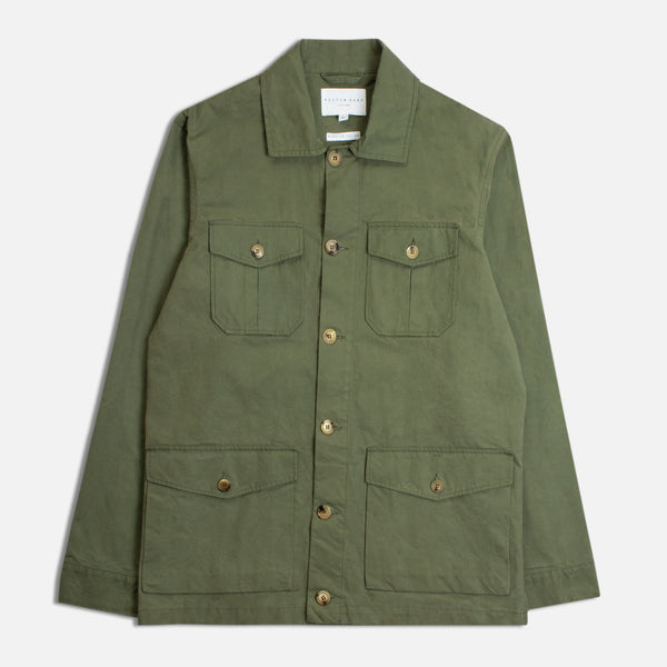 Field Jacket In Meadow Green Pigment Coated Cotton