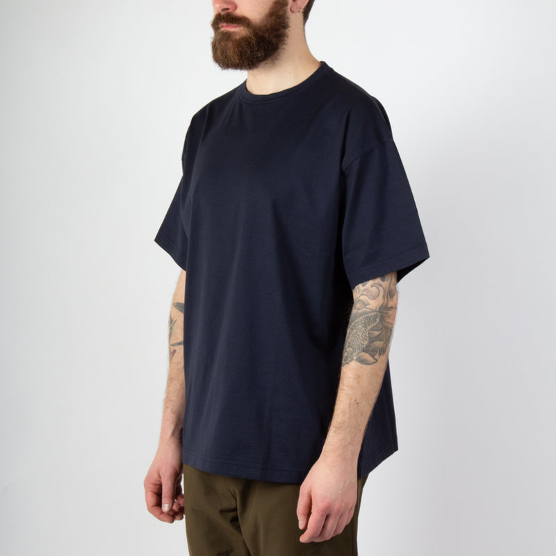 Kestin Hare Fly Tee Navy Cotton Jersey worn side view