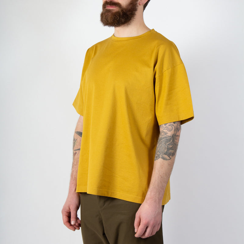 Kestin Hare Fly Tee Orange Whisky Cotton Jersey worn side view