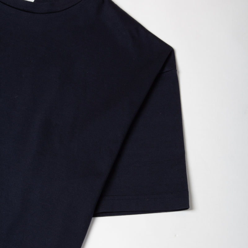 Kestin Hare Fly Tee Navy Cotton Jersey sleeve detail