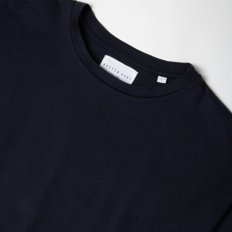 Kestin Hare Fly Tee Navy Cotton Jersey collar detail