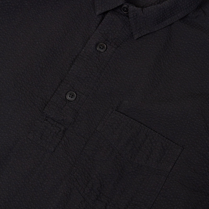 Kestin Hare Granton Shirt Black Seersucker Cotton fabrics detail