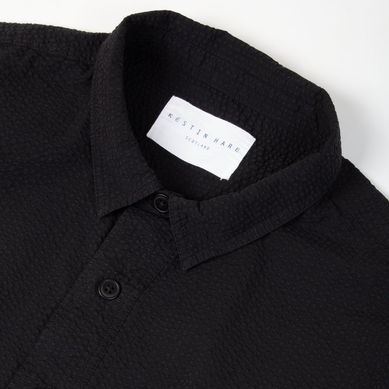 Kestin Hare Granton Shirt Black Seersucker Cotton collar detail