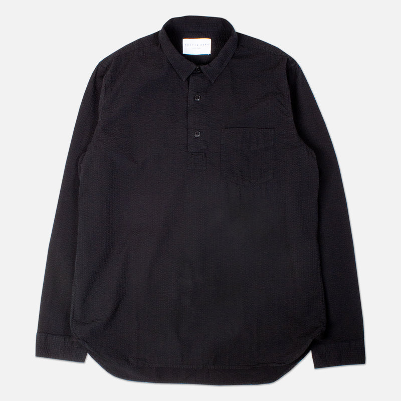 Kestin Hare Granton Shirt Black Seersucker Cotton