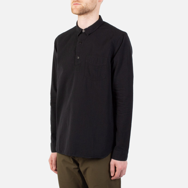 Kestin Hare Granton Shirt Black Seersucker Cotton worn side view