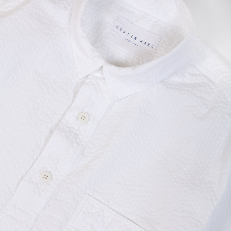 Kestin Hare Granton Shirt White Seersucker Cotton collar detail