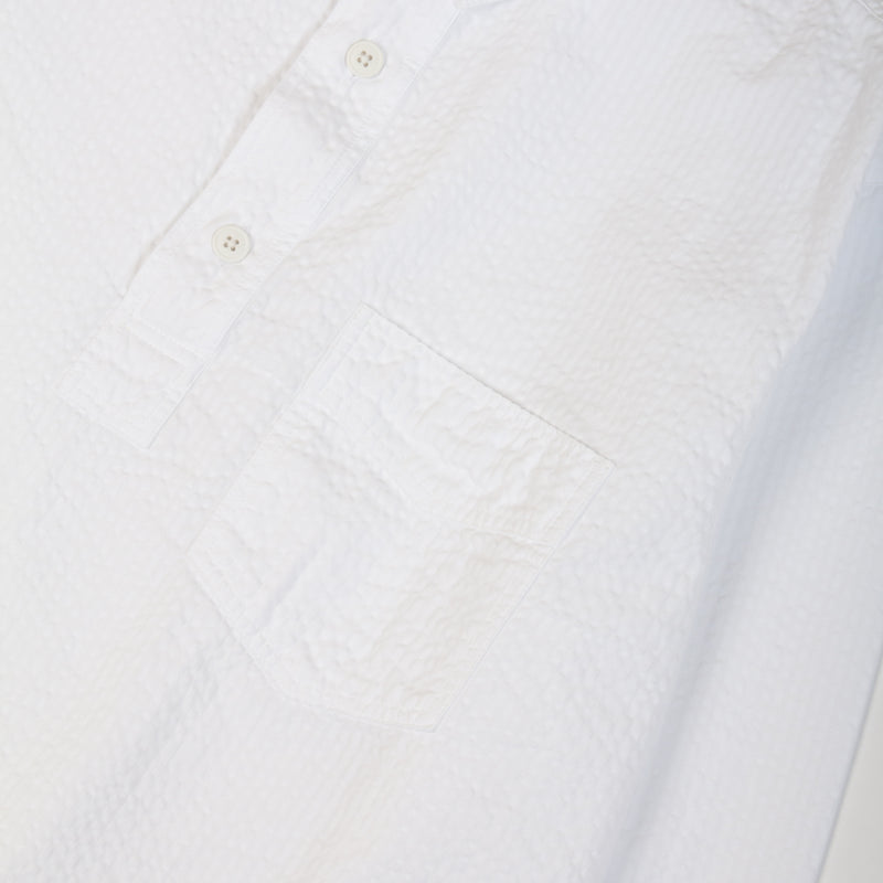 Kestin Hare Granton Shirt White Seersucker Cotton chest pocket detail