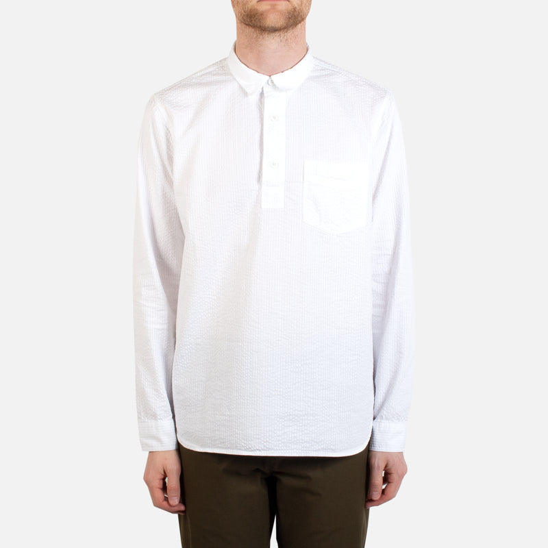 Kestin Hare Granton Shirt White Seersucker Cotton worn