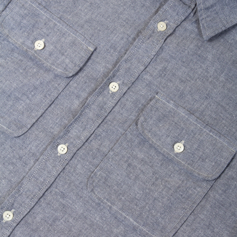 Kestin Hare Harrogate Shirt In Chambray Cotton pockets details