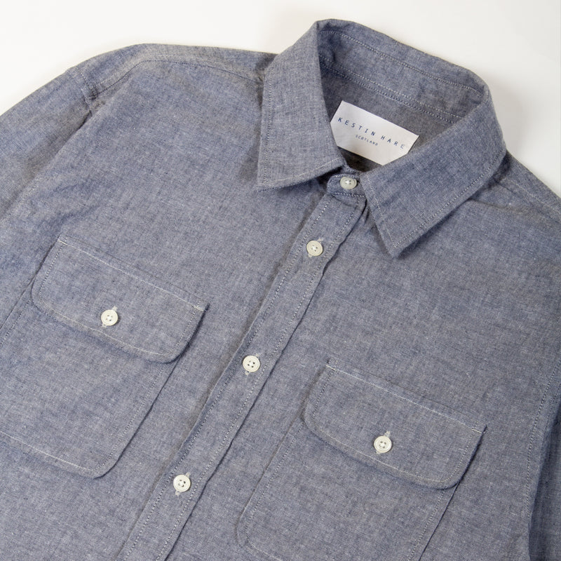 Kestin Hare Harrogate Shirt In Chambray Cotton collar detail
