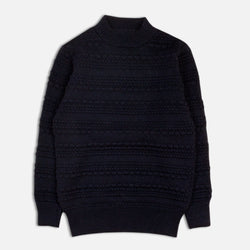 Haston Bobble Knit In Navy British Wool