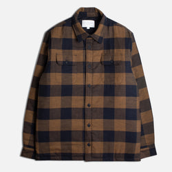 Haston Shirt Jacket in Tobacco & Navy Brushed Cotton