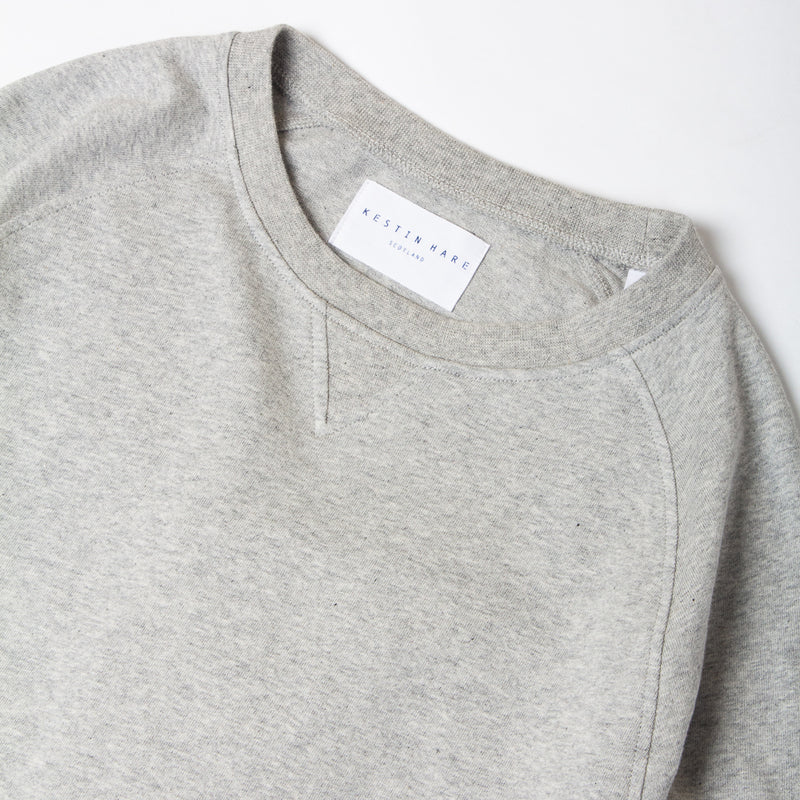 Kestin Hare Haymarket Sweat In Heather Grey Cotton Jersey collar detail
