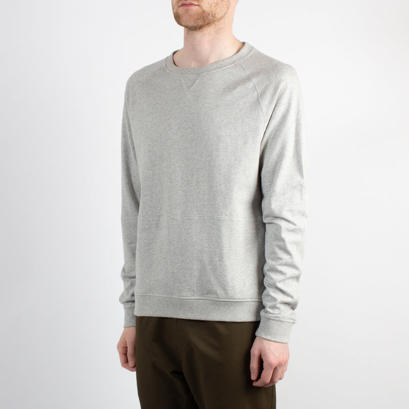 Kestin Hare Haymarket Sweat In Heather Grey Cotton Jersey worn side view