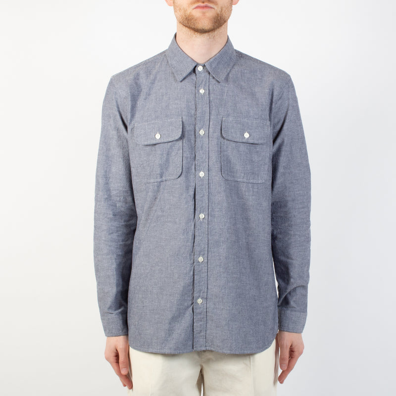 Kestin Hare Harrogate Shirt In Chambray Cotton worn