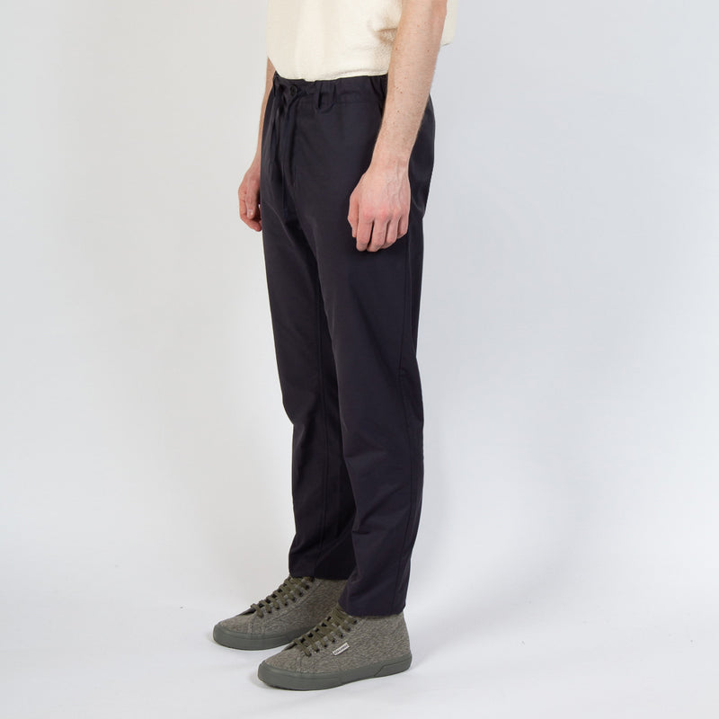 Inverness Trouser In Navy Water Repellent Cotton worn side view