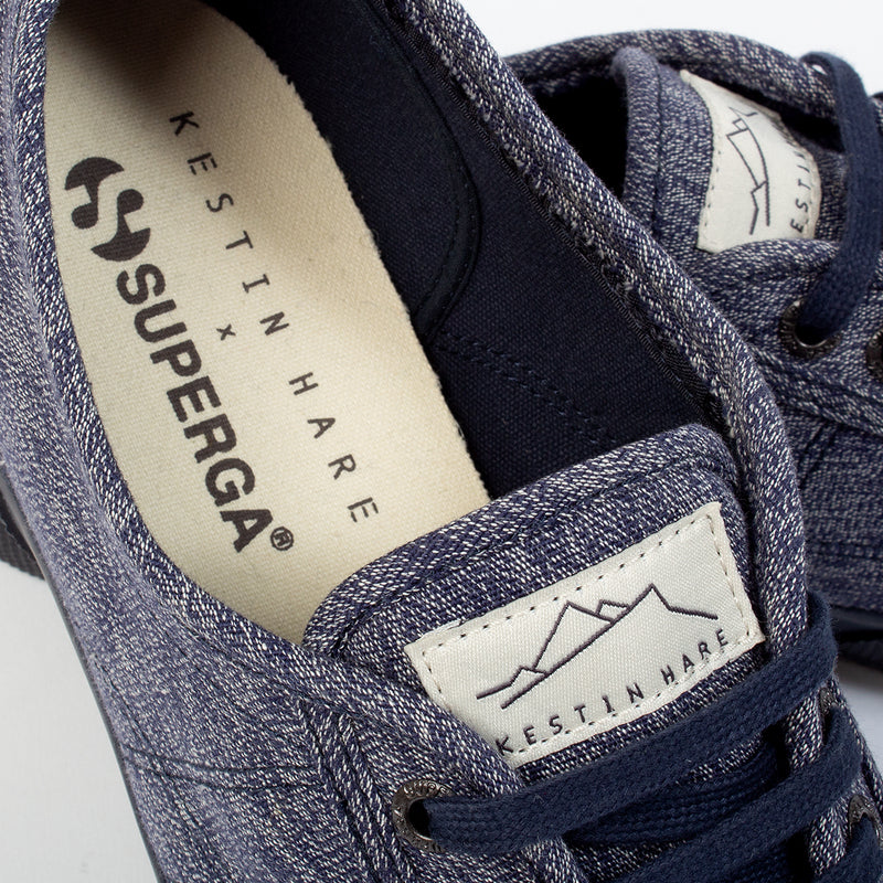 Superga x Kestin Hare 2750 In Blue/White inner sole detail