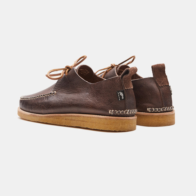 Yogi Lawson Leather Moccasin In Chocolate bqck view