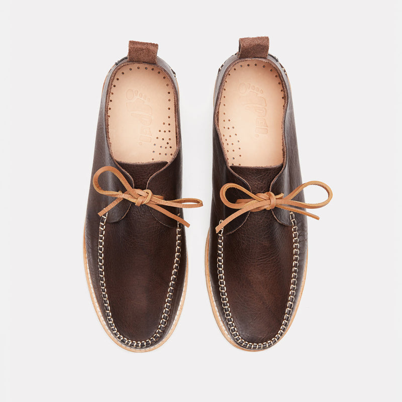 Yogi Lawson Leather Moccasin In Chocolate top view