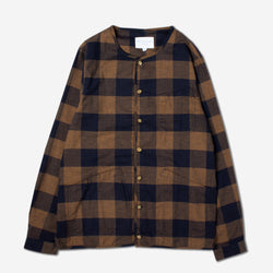Neist Overshirt In Navy & Tobacco Flannel Check