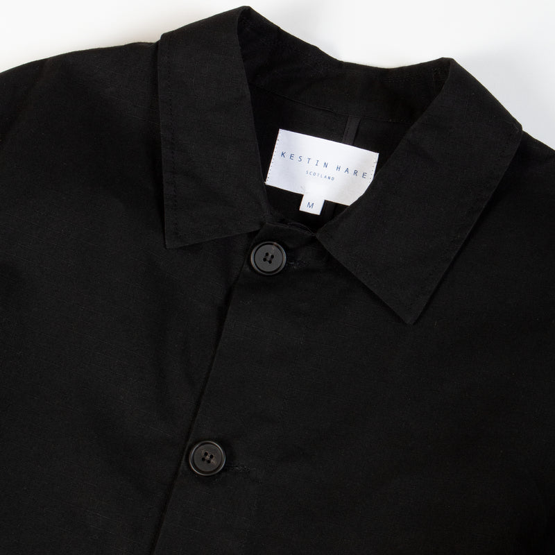 Munro Shop Coat In Black Cotton Ripstop