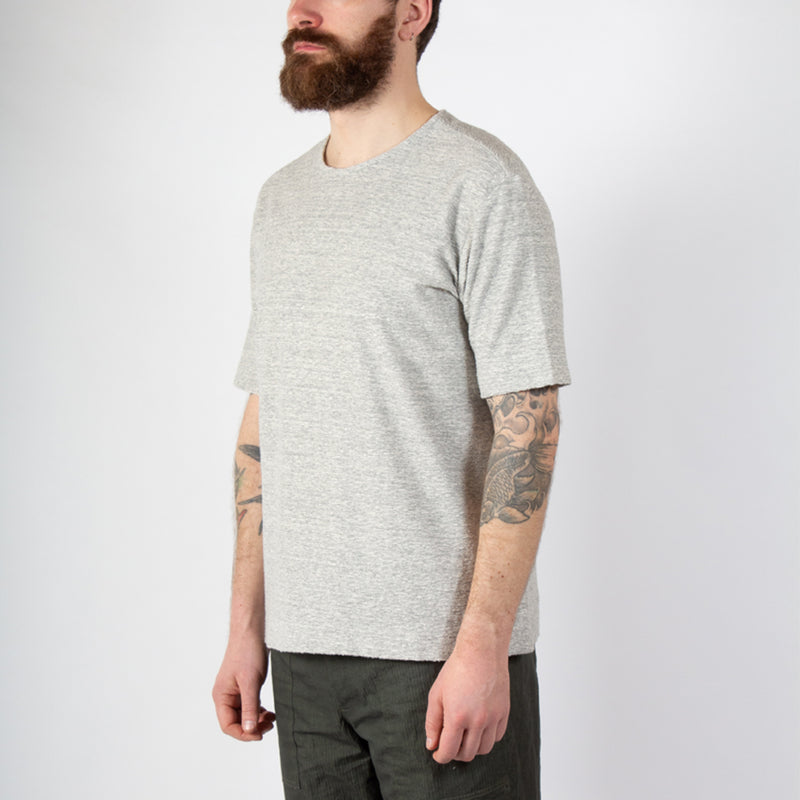Kestin Hare Spey Tee Grey Marl Textured Jersey worn side view