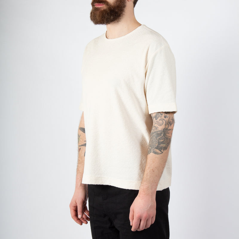 Kestin Hare Spey Tee Off White Textured Jersey worn side view